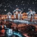 Заснеженный мост Ломоносова